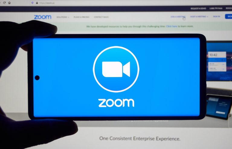 Montreal, Canada - March 22, 2020: Zoom app and logo on screen. Zoom Communications is remote conferencing services company. It provides a remote conferencing services like meetings, calls, chat