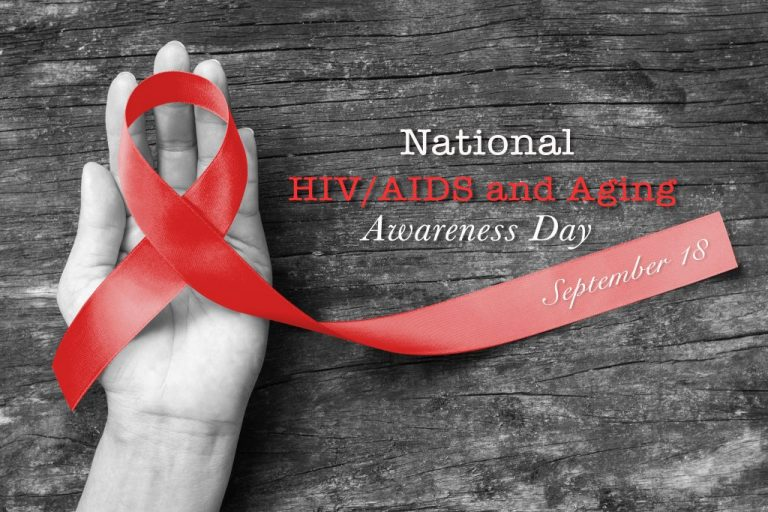 National Hiv/aids And Aging Awareness Day, September 18 With Red
