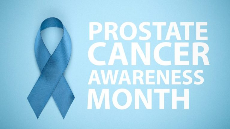 Prostate Cancer Awareness Month. Blue Ribbon On Background. Blue
